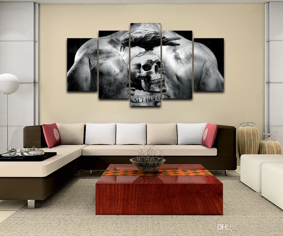Compre 5 Unids / Set Enmarcado Hd Impreso Skull Tattoo Picture ...