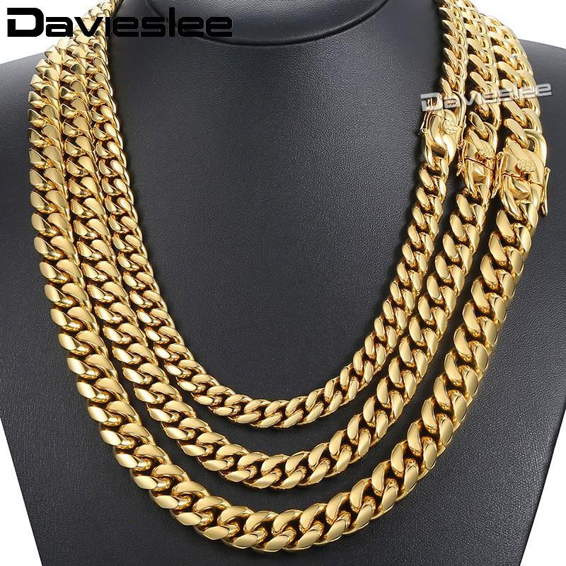 Davieslee Collier Pour Hommes Miami Curb Cubain En Acier Inoxydable 316L Hip Hop Argent Couleur Or 8/12 / 14mm LHNM19