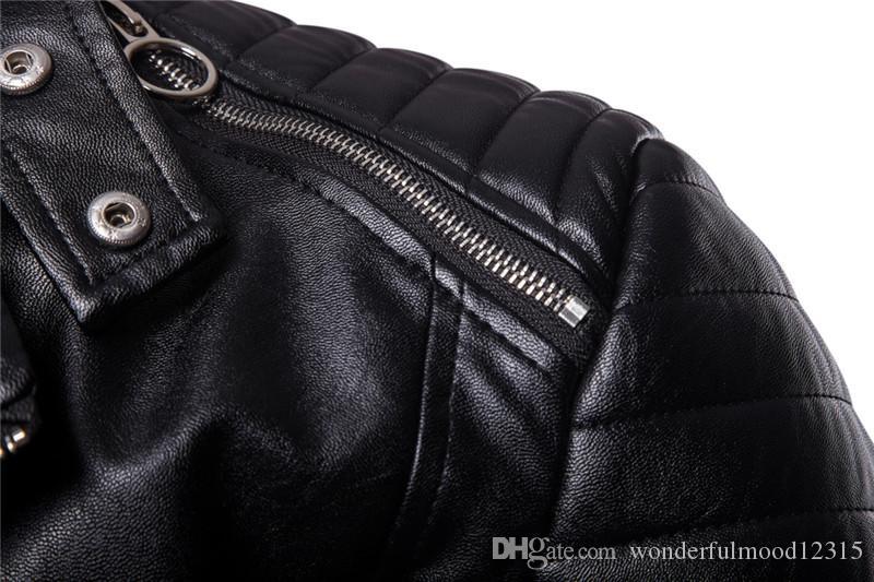 Großhandel 2018 Neue Männer Classic Diagonal Pull Leder High Quality Herren Motorrad Lederjacke Herren Stehkragen Schwarze Jacke Von