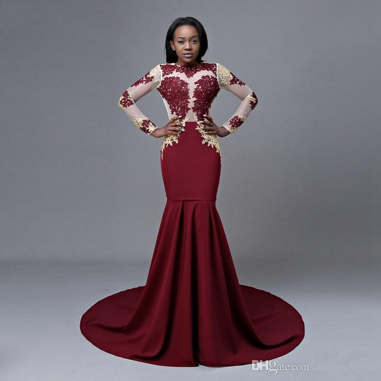 New Design Long Sleeve Mermaid Prom Dresses 2018 Applique Backless High Quality Satin African Burgundy Prom Dress Quinceanera Dresses