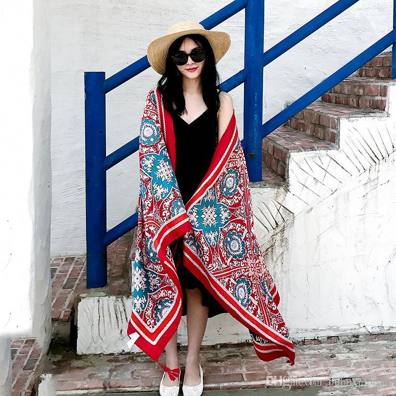 Autumn Thin Style scarf Tassel Retro Cultural Totem Cotton And Linen Sun Protection Shawl Beach Towel Woman