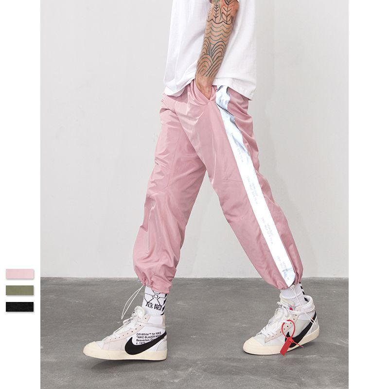 Сторона отражает свет ленты jogger брюки спортивная Винтаж брюки новая мода повседневная брюки бренд одежды
