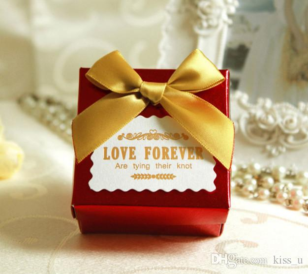 100pcs Red Gold Purple Wedding Candy Box Sweets Gift Favor Boxes With Ribbon Party Decoration Wedding Gifts For Guests Favors