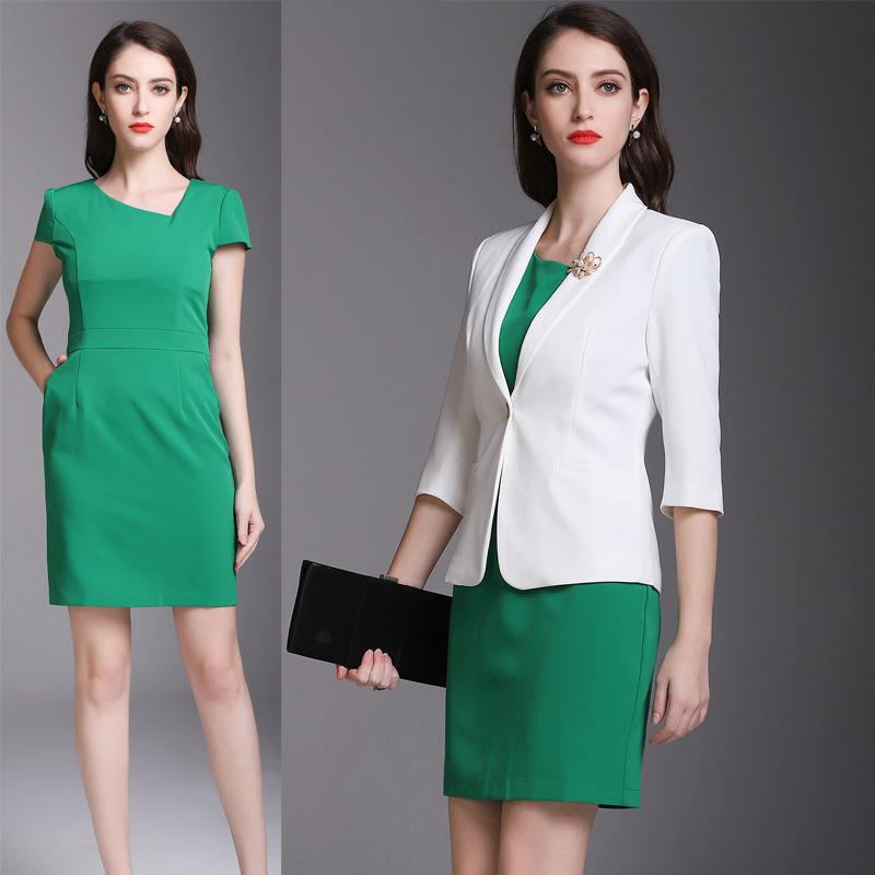High end professional wear, spring and autumn suit, fashionable dress, business , commuter suit, skirt, big skirt.