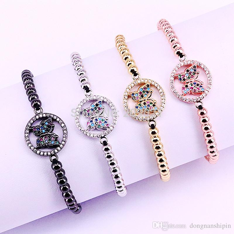 10Pcs Micro Paved Colorful Zircon Butterfly Connector & 4MM Round Bead Braiding Macrame Bracelet For Women Gift