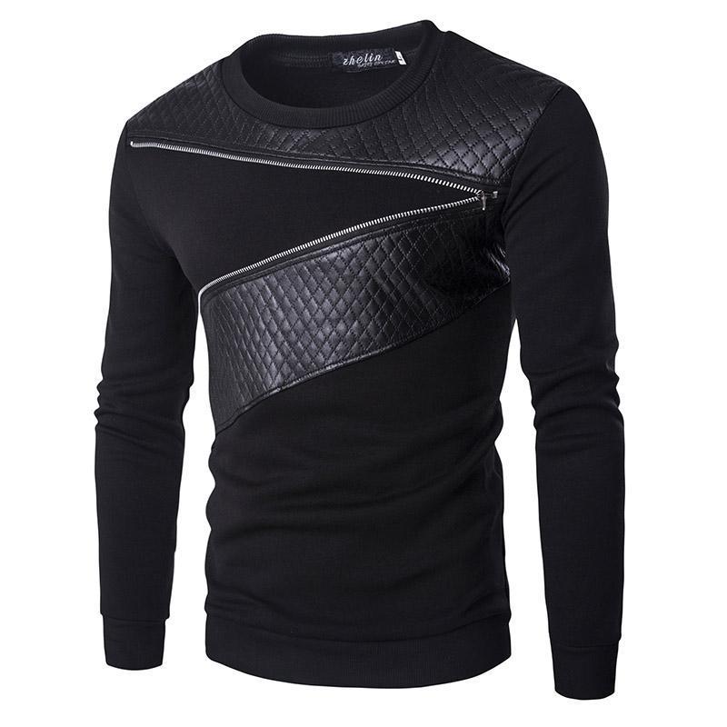 En gros-Laine Patchwork Hoodies Hommes Ublique Zipper Décoration Sweat Hommes Casual Slim Manteau De Mode Hommes '; S Vêtements Hoodies