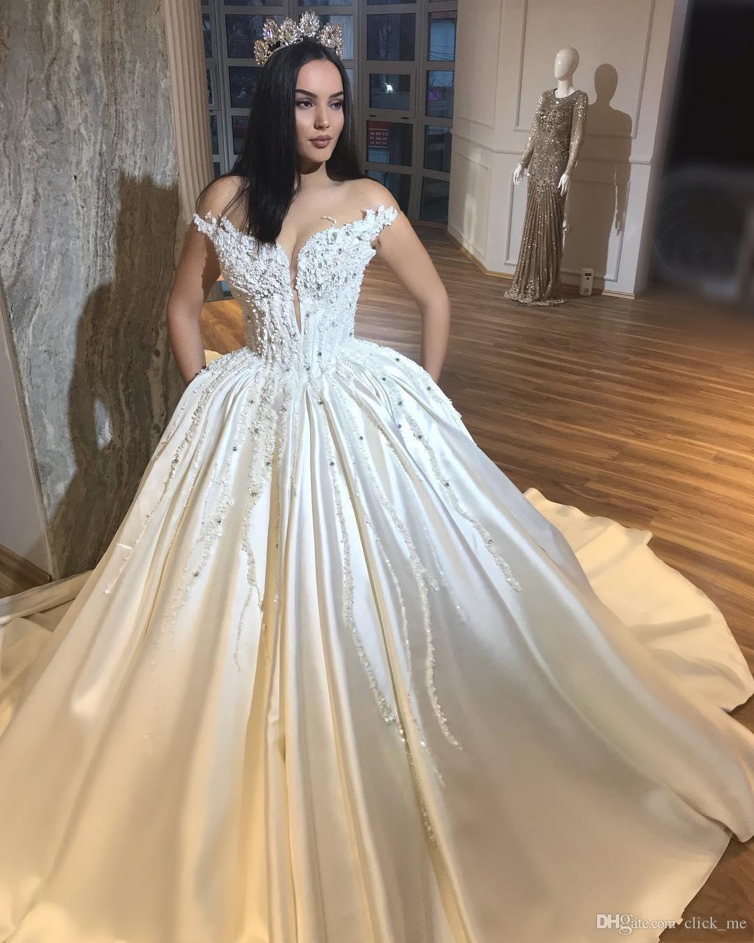 Discount Gorgeous Sweetheart Wedding Dresses Appliques Beads Plunging  Neckline Satin Plus Size Wedding Dress Count Train Country Style Bridal  Gowns ...