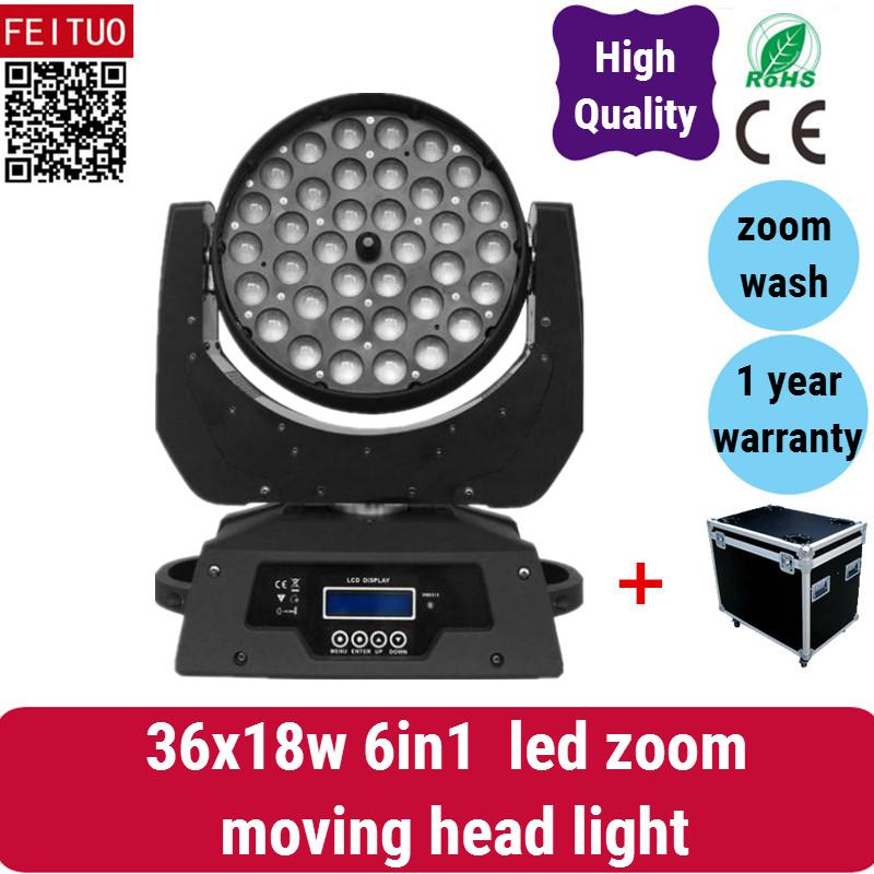 2 luce con il caso prodotto popolare lava luce in movimento 36x18 w led zoom testa mobile, 6in1 rgbwa uv china moving head light