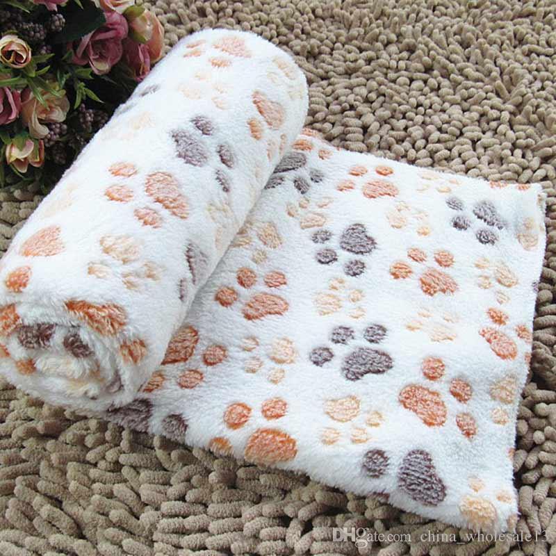 Free shipping Cute Footprint Pet Sleep Mat Dog Cat Blankets Fall Winter Blanket Warm Microfiber Dog Towel For Small Pet Bed Pet CushiAEI-456