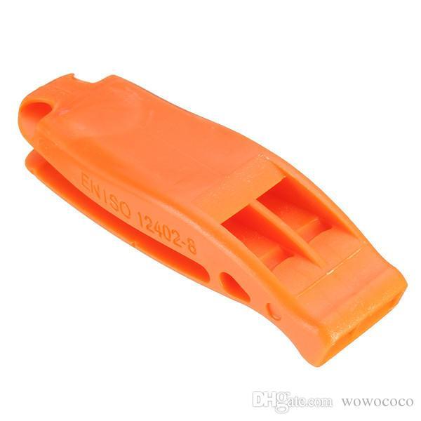 EDC البلاستيك مزدوجة التردد الرياضية المنافسة الصافرة أداة الطوارئ أحمر برتقالي أسود X218