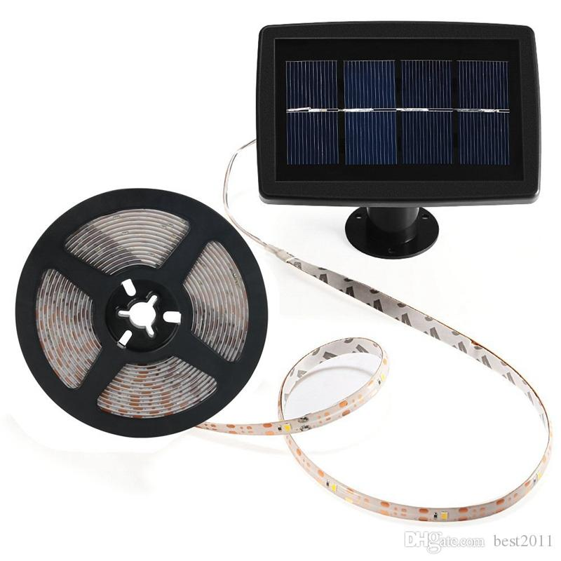 5m/16.4ft Waterproof Solar Powered 2835 SMD LED Strip Rope Tube Warm White Outdoor Garden Light Strip Garden Holiday Party Decor Light