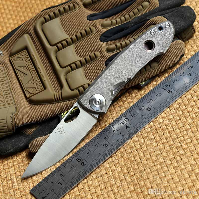District 9 original E190 14C28N blade titanium handle Tactical folding knife outdoor camping gear survival Hiking hunting tools EDC knives