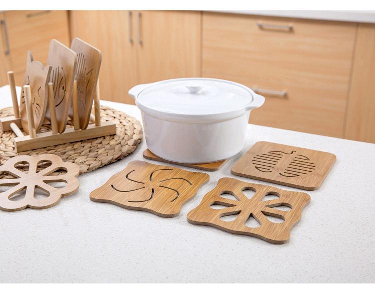 Madera gruesa de dibujos animados vajilla de cocina antiescarcha Aislamiento hueco de madera mesa barra contador estufa antideslizante olla estera