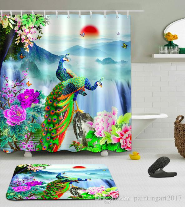 3d paysage rideau de douche polyester imperméable paons rideaux de bain rideau de douche pour salle de bain avec 12 crochets tapis de sol ensembles