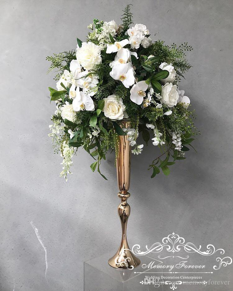 29.5 pulgadas Tall Metallic Oro Floral Trompeta Vasión Riser Boda Centro de la Boda Floral Jarrón Decoración Aisle Pasarelas Piso Florero