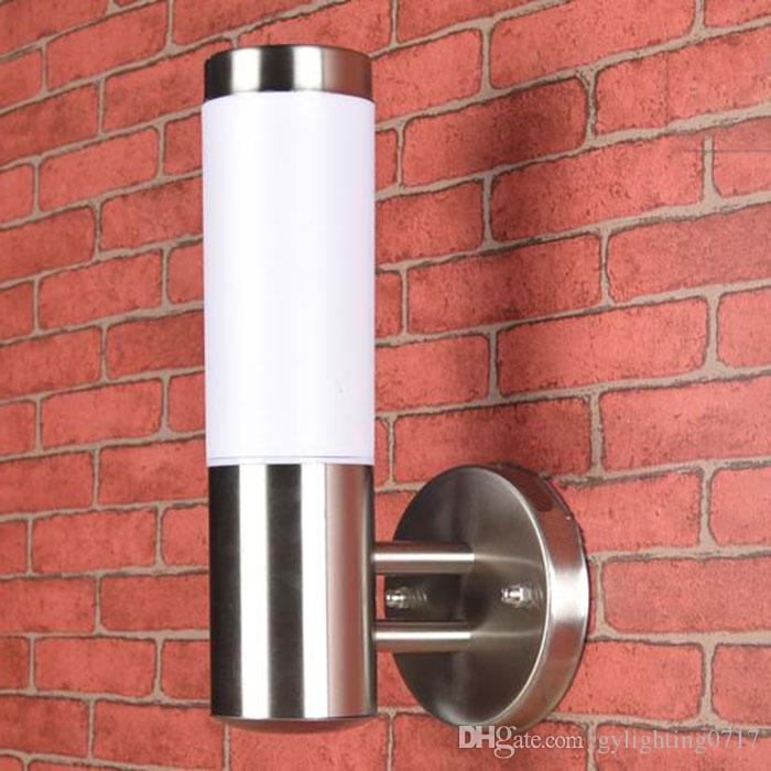 luz de parede exterior de aço de prata inoxidável + Láctea abajur fora impermeável varanda porta lâmpada E27 LED lanterna de parede exterior