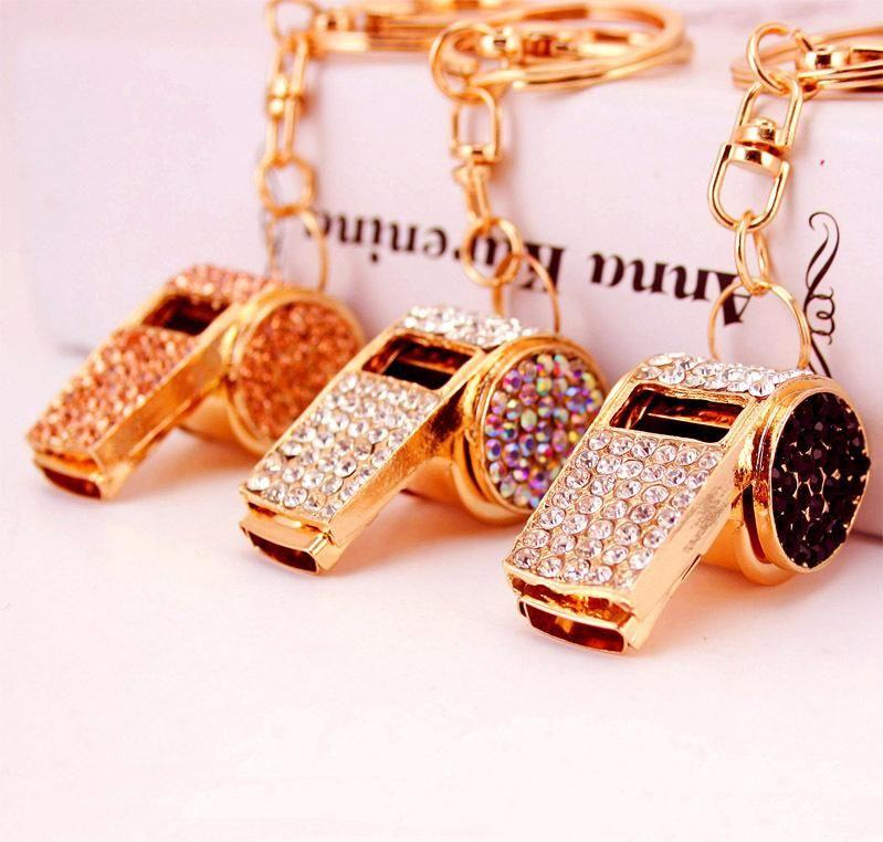 Crystal Whistle Keychain Keyring - Metal Key Chain Ring Holder Women HandBag Charm Accessory For Girls Women Purse Phone