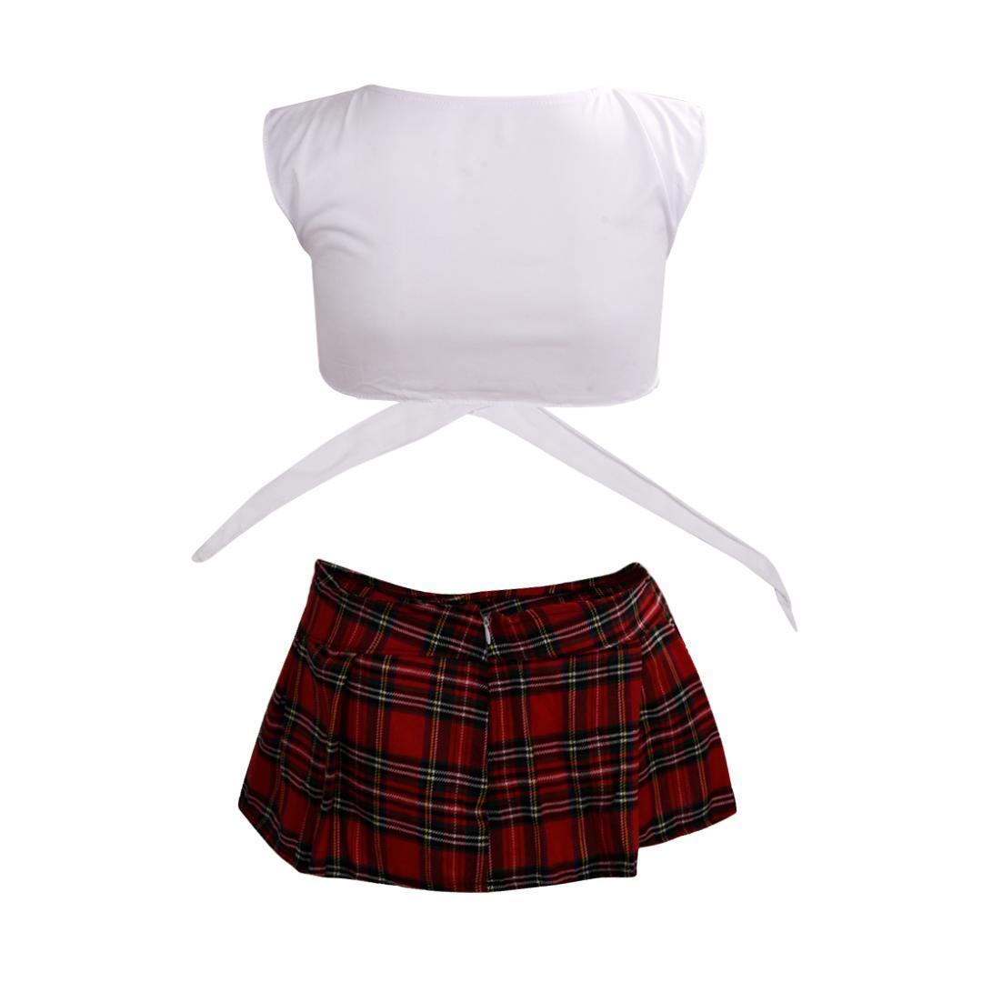 IMC Branco com Red Escola lingerie sexy Jogo uniforme Estudante kimono japonês meninas Maid Costumes pijamas de roupas eróticas charme