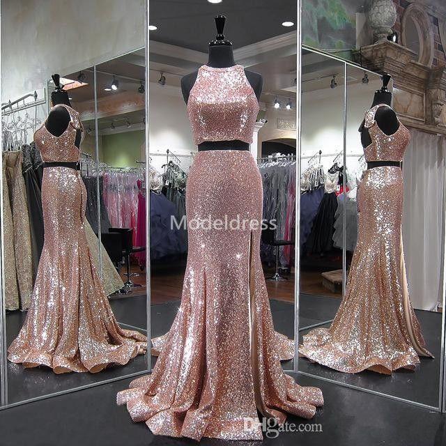 Rose Gold Sequin Mermaid Evening Dresses 2019 Jewel Side Split Open Back Sweep Train Long Formal Prom Party Gowns Abendkleider Cheap Custom