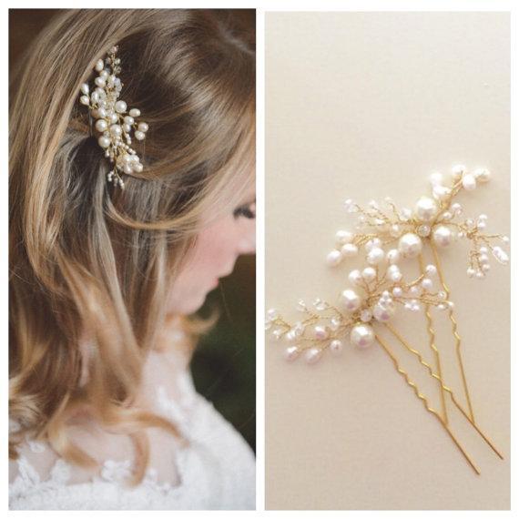 Pearl perno di capelli di nozze, accessori per capelli da sposa, Pearl perno di capelli, forcine da sposa, Gold o Silver