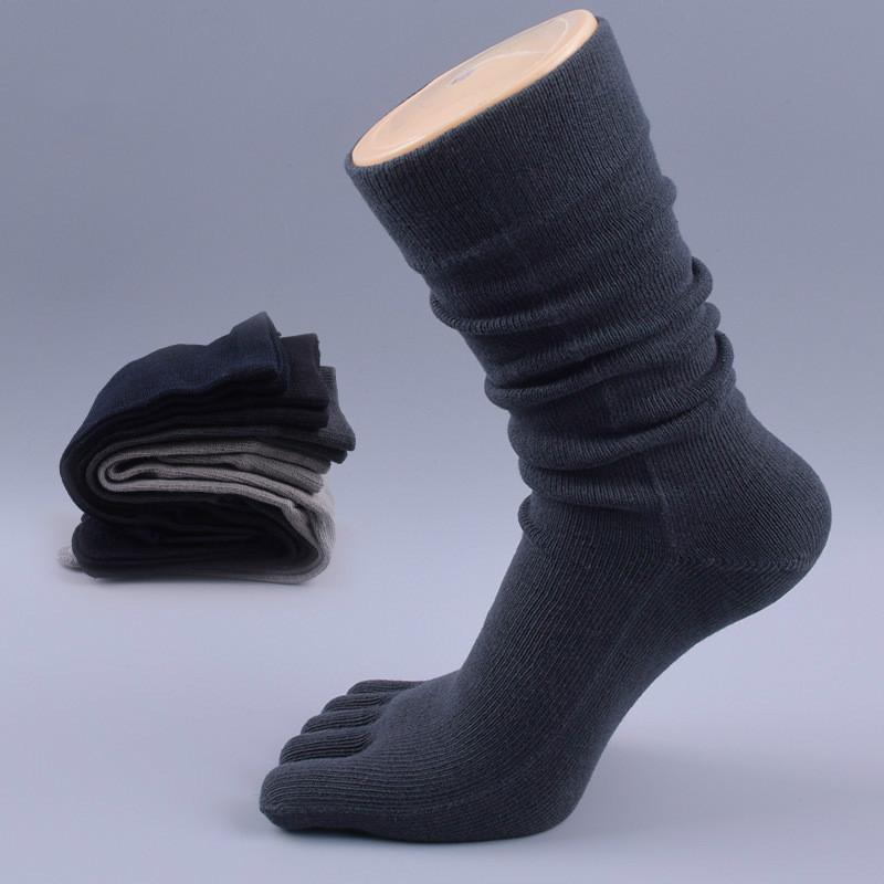5 أزواج العلامة التجارية الرجال اللباس الأعمال خمسة إصبع تو الجوارب عالية الكاحل القطن طويل سوكس جودة عالية sokken