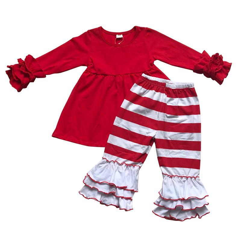 New Arrival Baby Girls Odzież Zestaw Odzież Dzieci Wzburzyć Czerwony Top z Paski Spodnie 2-częściowe Outfit Moda Ubrania Kids
