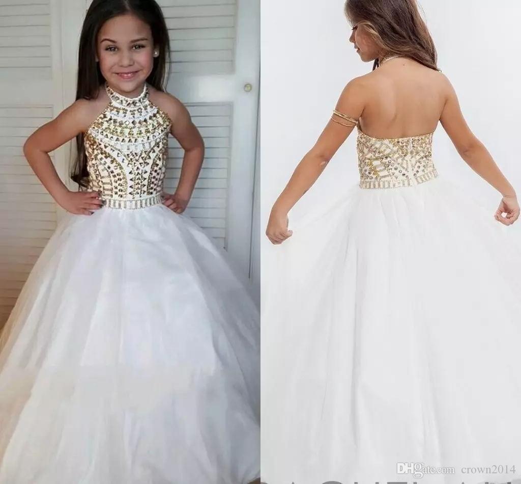 2020 белый бальное платье девушки Pageant платья высокого шеи Холтер Золотой Кристалл Тюль Backless малышей Маленькие девочки Pageant платья для юниоров