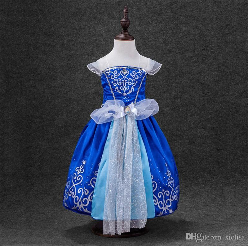 2018 Free shipping hot sale Summer Baby Girl Princess Dresses Cosplay Dress Toddler Girls Party Birthday Costume Vestido