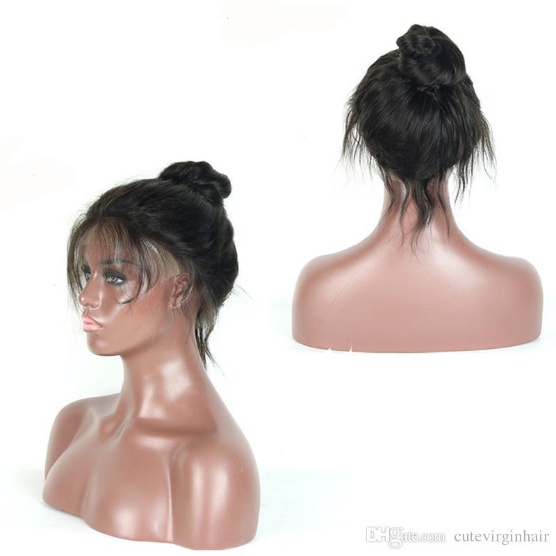 Pelucas brasileñas baratas del pelo humano del cordón lleno con las pelucas del cordón del pelo del bebé de la onda pre arrancadas para las mujeres negras color natural 10-26 pulgadas