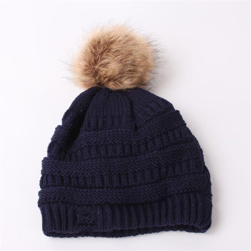 브랜드 겨울 따뜻한 두꺼운 부드러운 스트레치 케이블 비니 모자 여성 가짜 모피 치어 리딩 니트 Skullies 모자