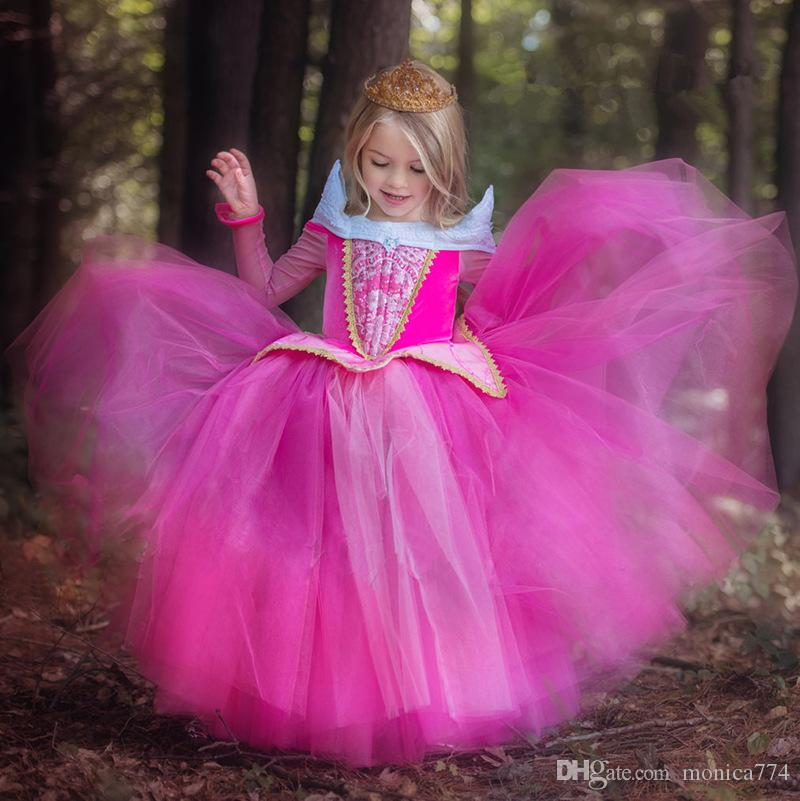 TOP Fashion Children Girls Pink Long Sleeve Princess Dress Girls Birthday party dance dress Performance Costume prom dress D20