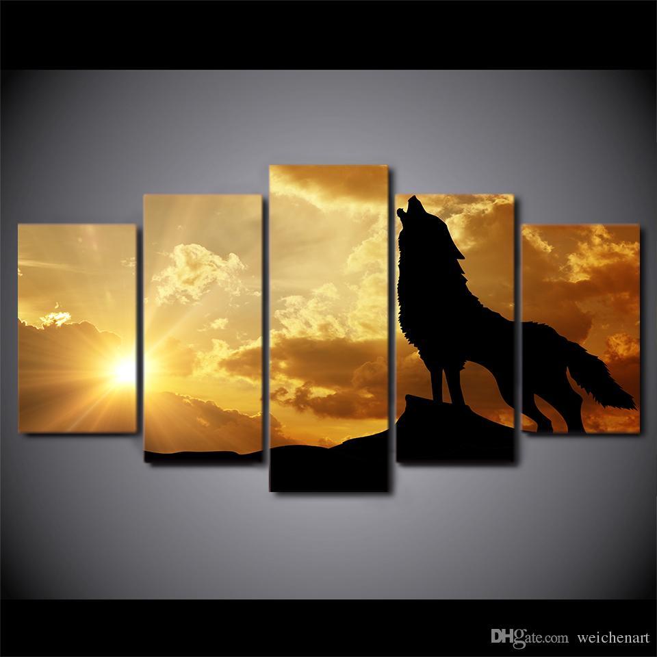 5 piece HD Stampa Howling Wolf Nel Tramonto della tela di canapa Pittura Poster E Pittura Stampe modulare Immagine della parete di arte della tela di canapa