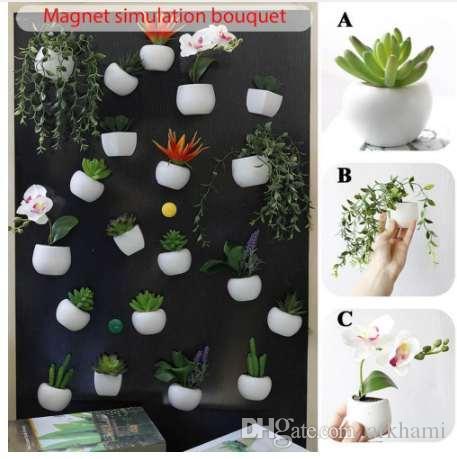 Buzdolabı Sticker Simüle Buket Çiçek Etli Bitki Ev için Buzdolabı Mıknatısı Manyetik Saksı Bitki Duvar Dekorasyon Oturma Odası