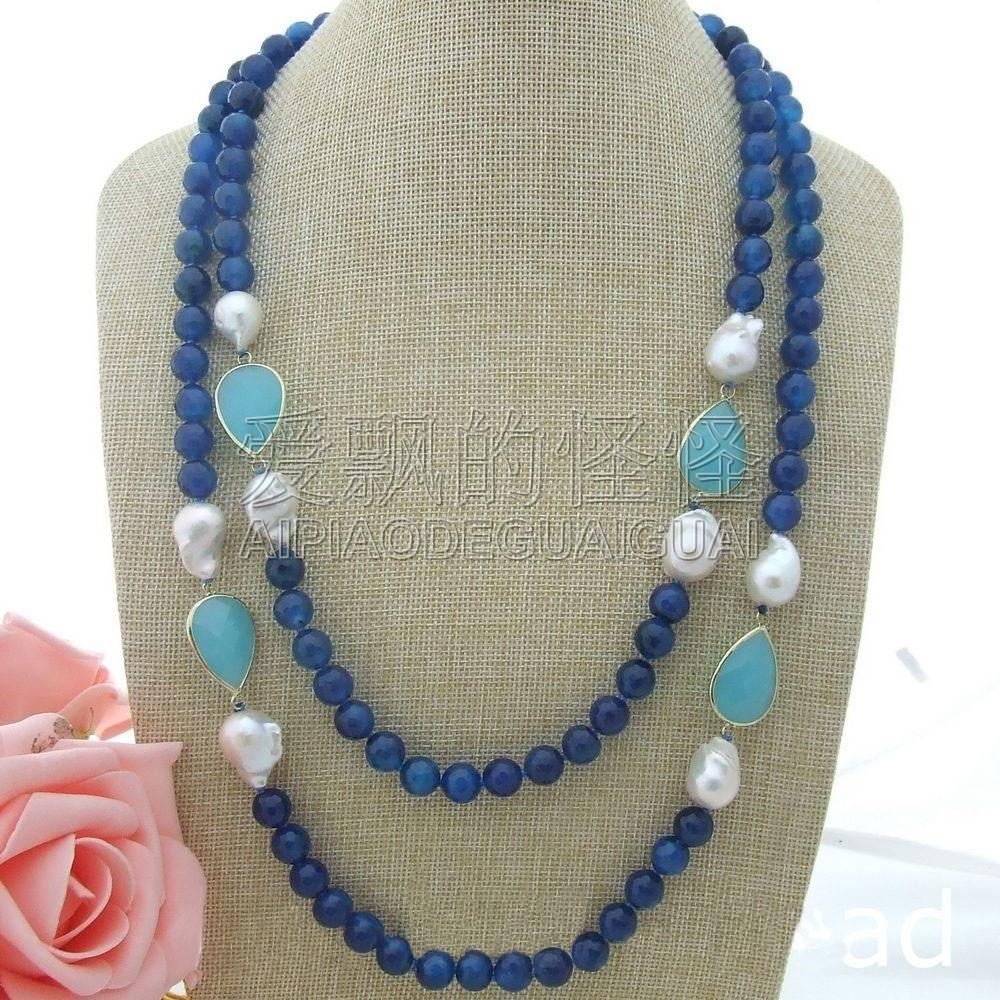 N061301 56'' 18MM Keshi Pearl Crystal Long Necklace
