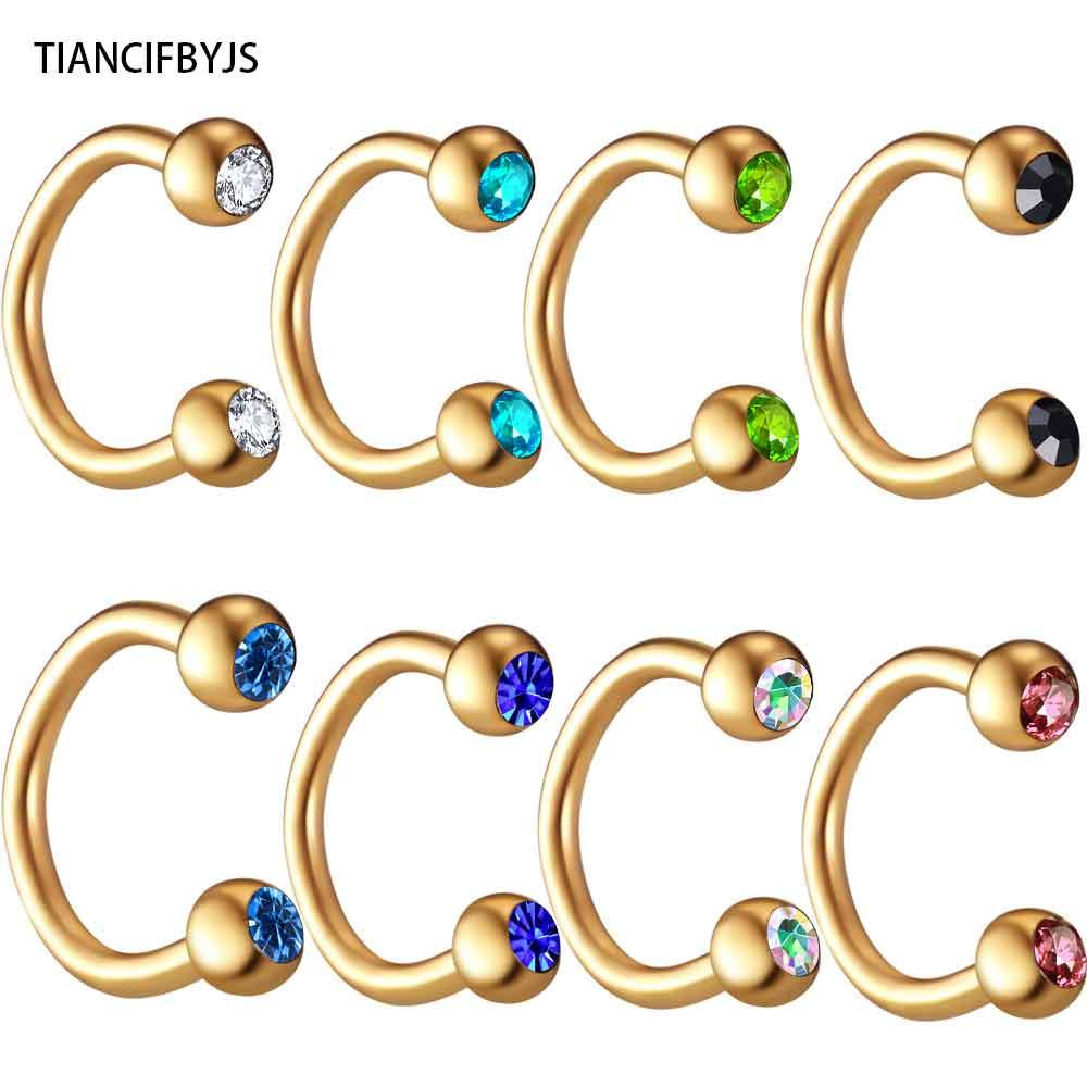TICNCIFBYJS 100pcs 10 color Gold Black Rainbow Silver Circular Horseshoe Nose Ring Lip Ring BCR Piercing earring Body Jewelry