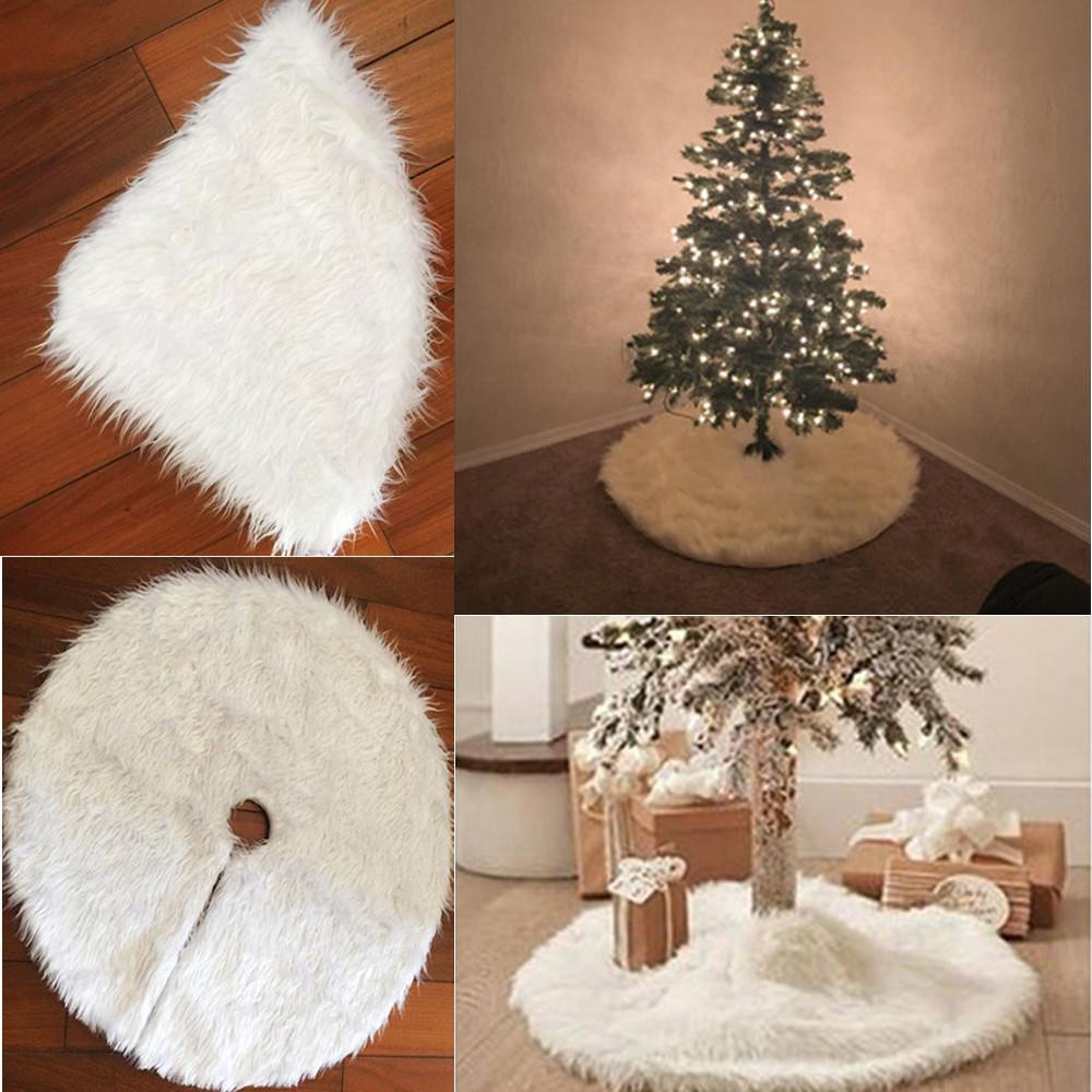 Venta al por mayor 1 UNIDS 78 cm de felpa de pelo largo del árbol de navidad falda círculo blanco árbol de navidad adornos decoración de Navidad envío gratis