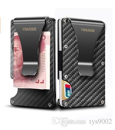 Carbon Fiber Money Clip Card Holder Wallet, 2019 New Version RFID Blocking Mens Slim Credit Card Business ID Holder For Men Provide OEM