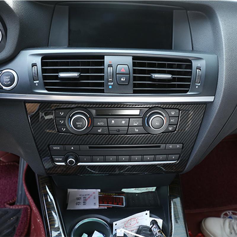 Centre fibre de carbone Console de style Panneau CD décoration Couverture de finition pour BMW X3 F25 2011-17 ABS voiture Autocollants intérieur
