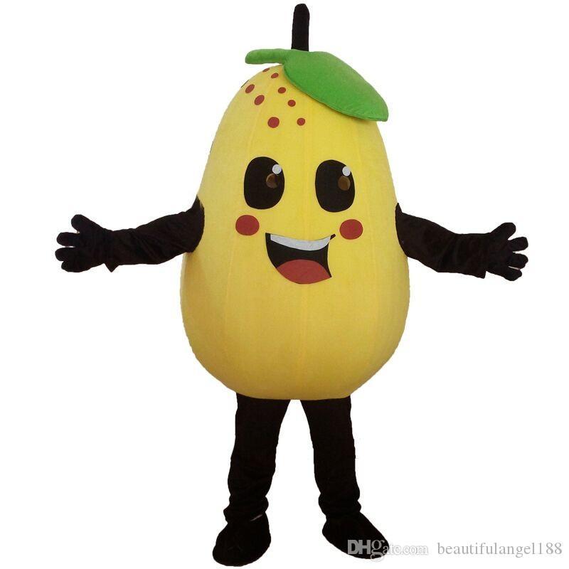 공장 직접 판매 과일과 야채 배 마스코트 의상 역할 놀이 만화 의류 성인 크기 고품질 의류 무료 배송
