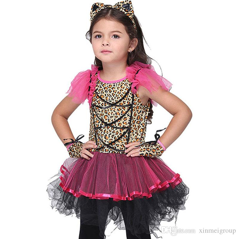 Hot Halloween Costumes for Baby Girl Tutu Dress Cheshire Cat Girl Prom Animal Cosplay Apparel kids girl Clothes W680093