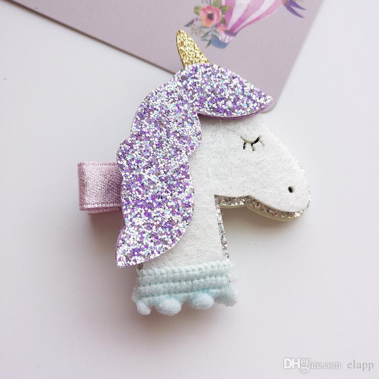 мода девочка блестки Unicorn Star Barrettes Stereo Unicorn Design девушка Машинка красивая девушка Дети Аксессуары для волос свободный корабль