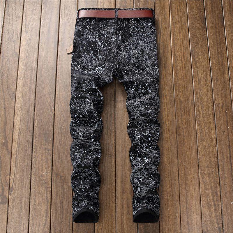 2018 Neve Moda Marca Vestido Jeans 5614 # New Homens NightClubs Moda Splash-Tinta Conveniente Homem Verão Cantores RDuxe