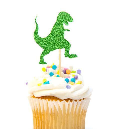 Großhandel Glitter Dinosaurier Geburtstag Geschlecht Offenbaren Cupcake Topper Taufe Taufe Party Dekoration Donut Essen Picks Von Afantihourse 2173