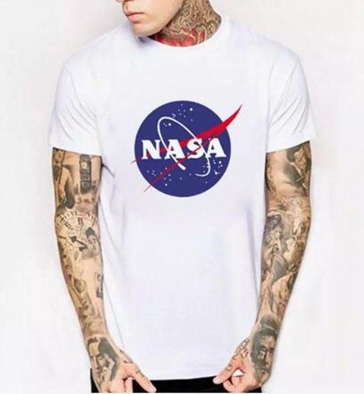 WISHCART NASA Logo Print T-shirt Hombres Nuevo Verano de Manga Corta Algodón Hombres camiseta Diseñador de la marca Casual Fitness Ropa Tops Tees