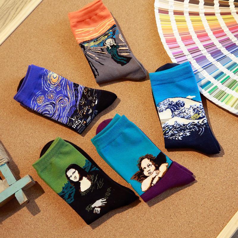 10pcs = 5pairs / lot Fashion Art cotone Crew uomini Happy Socks 3d modello della stampa del carattere Mens Harajuku vestito novità fresco sox