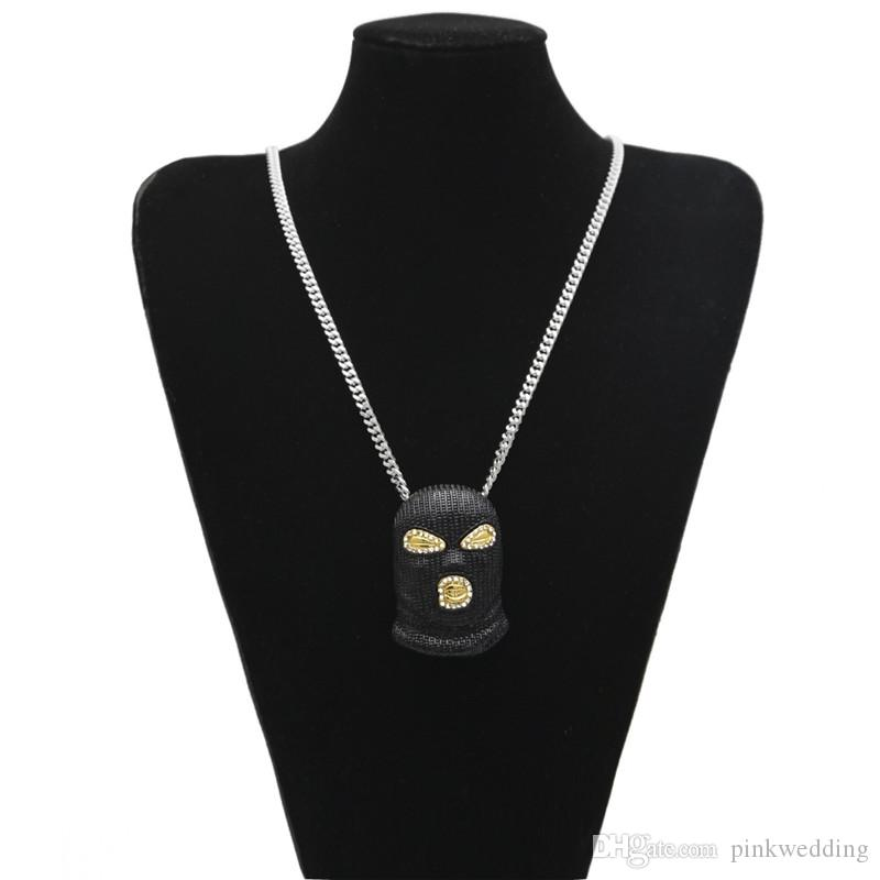 Fashion Cool Black Masked Man Necklaces Counter-Terrorism Headgear Pendant Hip Hop Necklace For Perfect Halloween Gift
