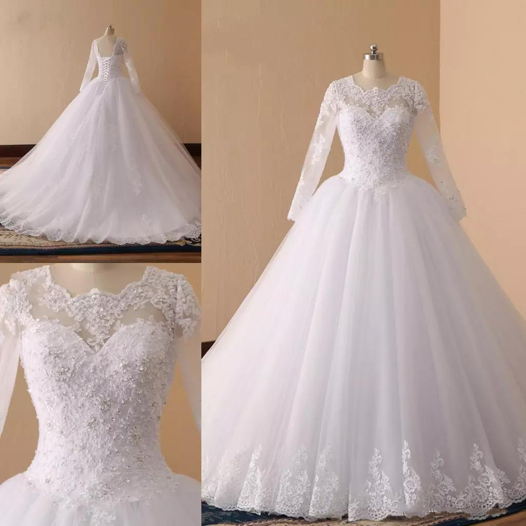 Simple Design Wedding Gowns Long Sleeve Crew Neck Silver Sequins Ball Gown Court Train Wedding Dresses, High Quality Bridal Gowns