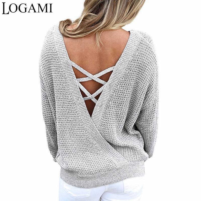 LOGAMI V шеи спинки с длинным рукавом женщин свитера и пуловеры трикотажные Рождество свитер пуловер осень 2017 мода S18100902