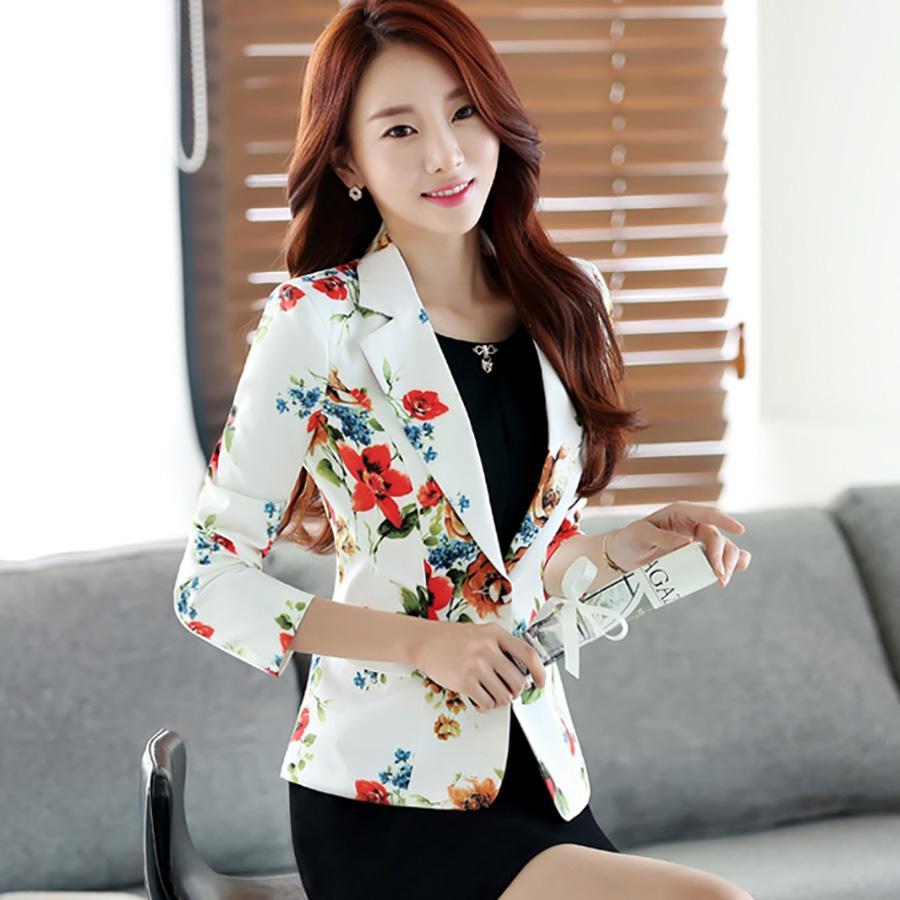 Short Elegant Blazer Women Flower Plus Size Korean Working Ladies Office Suit Jacket Female Blaser Feminino Formal Coat X50054