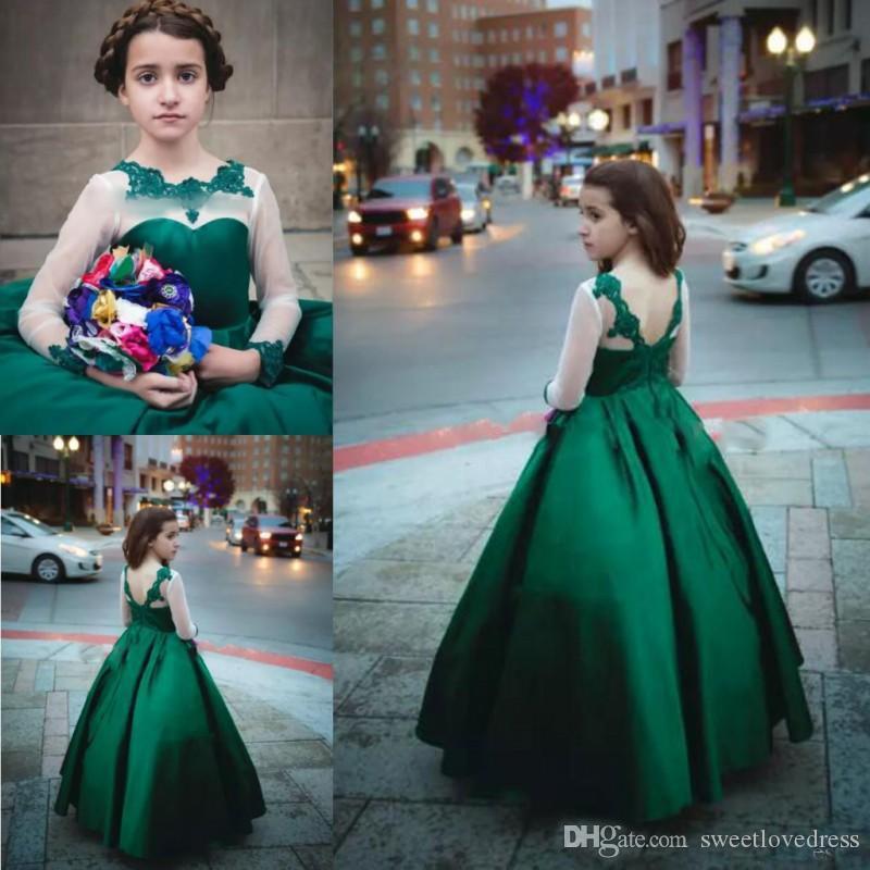 Hermosos apliques de encaje de color verde oscuro Vestidos de niña de flores para bodaIlusión Manga larga Satin A Line Chicas Vestidos para niños Formal